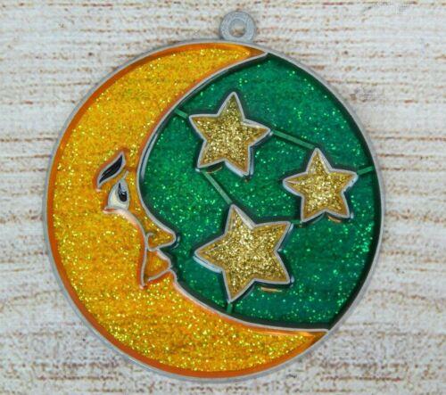 Vintage Suncatcher Man in Moon /& Stars Round Window Decoration Ornament