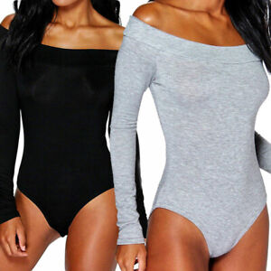 Ladies-Womens-Off-Shoulder-Long-Sleeve-Plain-Stretch-Bardot-Bodysuit-Leotard-Top