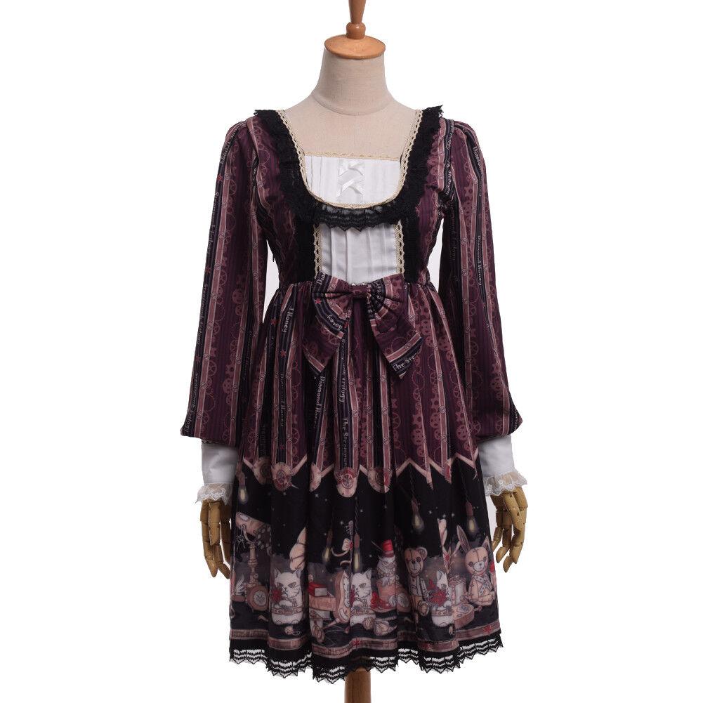 Women Lolita Dress Bowknot Dress Long Sleeve Party Evening Skirt Dress