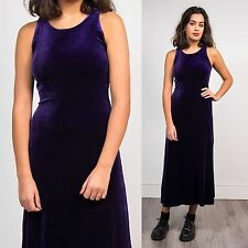 WOMENS VINTAGE PURPLE VELVET HIGH NECK MIDI DRESS 90'S GOTH GRUNGE FITTED 8