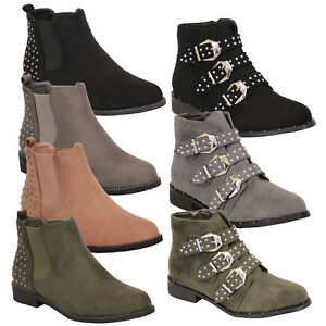 Ladies-Chelsea-Biker-Boots-Womens-Suede-Look-Studded-High-Ankle-Zip-Buckle-Shoes