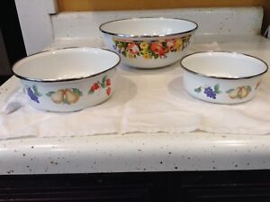 Handpainted Enamel Bowls Set Of 3 Flowers Fruits Grapes Pear