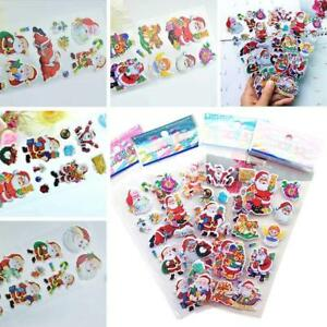 5pcs-3D-puffy-Stickers-CHRISTMAS-NEW-YEAR-SANTA-CLAUS-winter-sledge-deer
