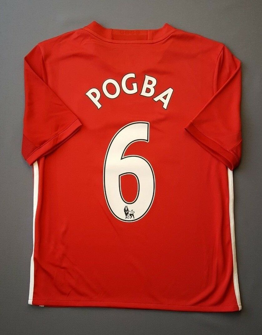 5+ 5 MANCHESTER UNITED POGBA 2016 2017 FOONBALL JERSEY KIDS L 13-14Y.  ADIDAS