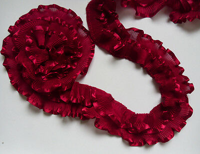 "2"" Burgundy / DK Red Chiffon 2 Layers Ruffles Pleated Lace Trims -1 Yard-T502E"