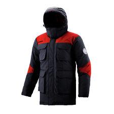 FUERZA Mens Winter Down Wellon Mid-Thigh Parka Jacket Coat - Black/Red - Medium