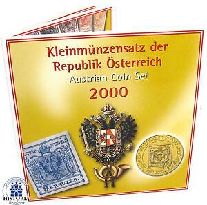 Osterreich-36-60-Schilling-2000-Handgehoben-Kursmuenzensatz-150-Jahre-Briefmarke