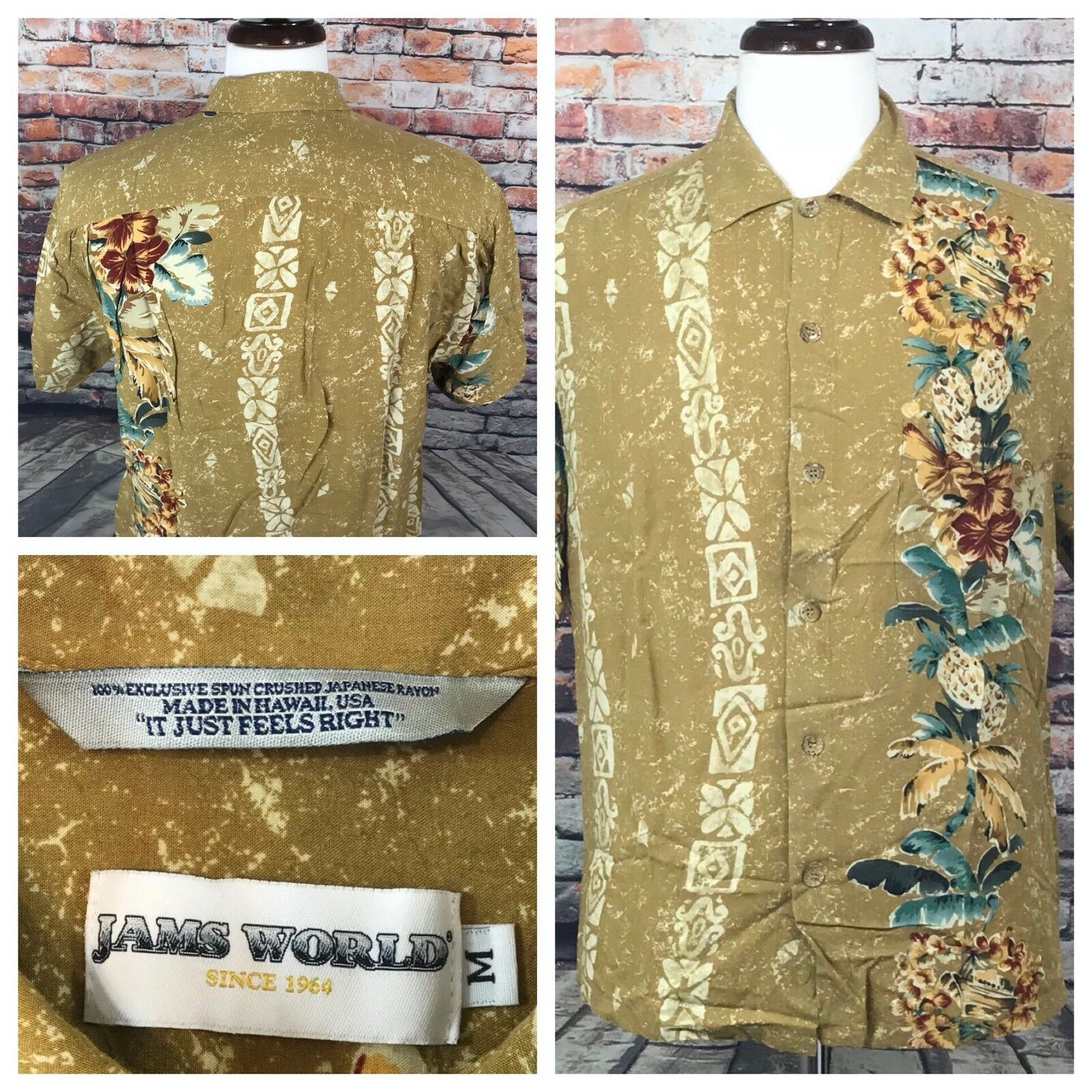 Jams World Hawaiian Floral it it Floral Just Feels Right Style Short Sleeve Uomo's Shirt M bc0c0e