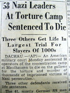 Details about 1946 newspaper TRIAL of NAZI CONCENTRATION CAMP GUARDS  verdict DEATH by HANGING
