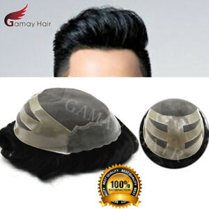 Fine Mono Men Toupee Hair piece Poly Coating Human Hair Replacement System Oscar