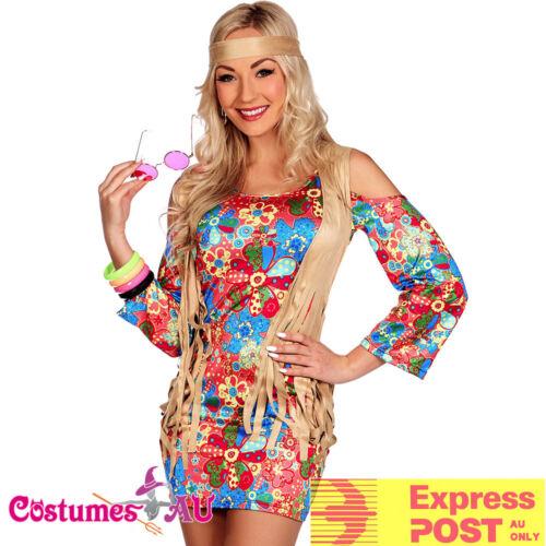 Ladies 60s 70s Retro Hippie Go Go Girl Disco Retro Hippy Costume Fancy Dress
