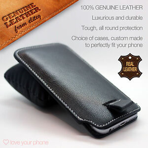 Black-Genuine-Real-Leather-Pull-Tab-Slide-In-Pouch-Case-Cover-Sleeve-Holster