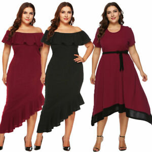 Women-plus-size-off-shoulder-Dresses-bodycon-party-cocktail-dress-oversized