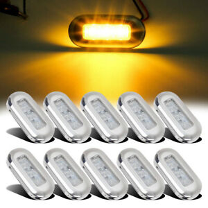 10x-Marine-Boat-Amber-LED-Oblong-Courtesy-Light-Stair-Yacht-Deck-Clear-Stainless