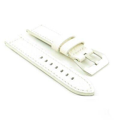DASSARI Baron White Textured Grain Italian Leather Watch Strap Band for Panerai
