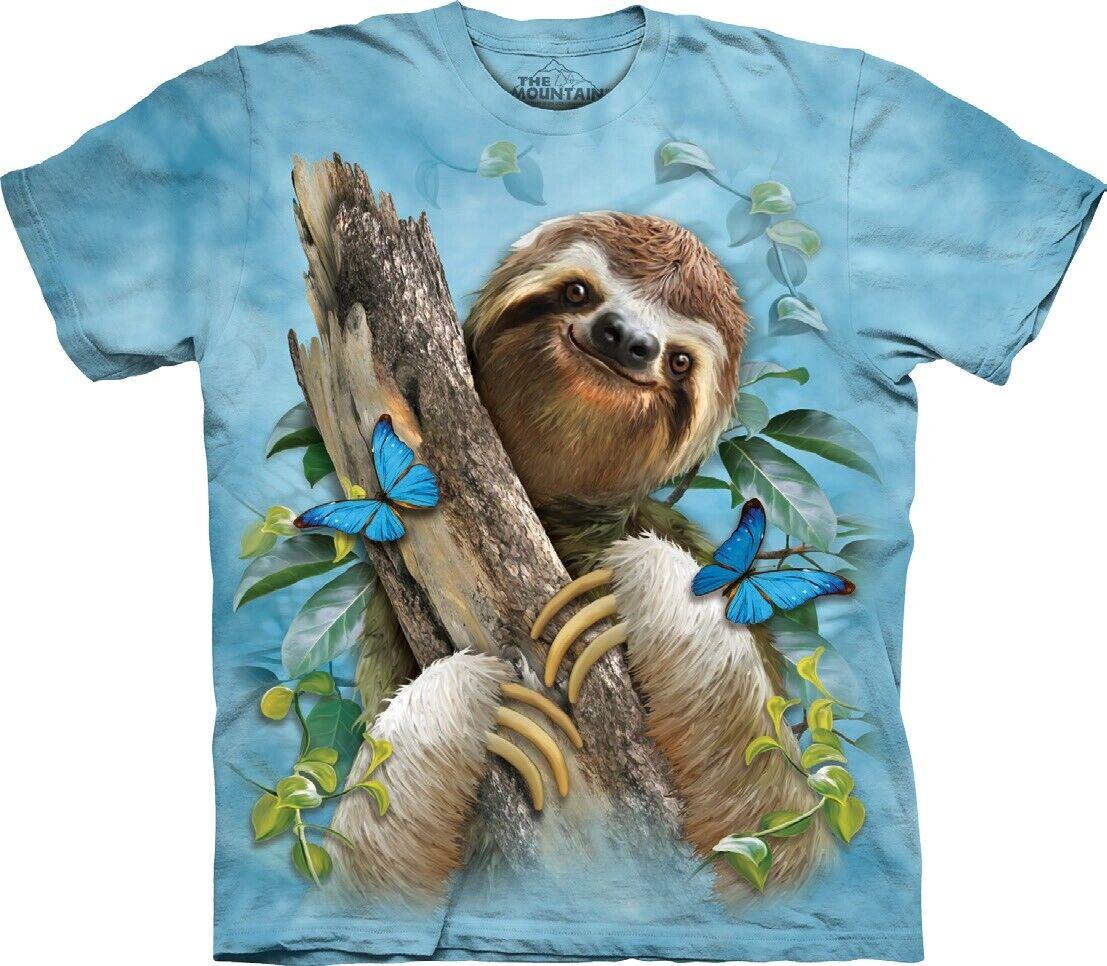 The Mountain Unisex Adult Sloth & & & Butterflies Animal T Shirt | eine große Vielfalt  94e0bf