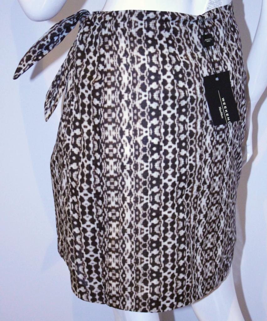 WEEKEND MaxMara DApurple Dark BROWN Beige ETHNIC Wrap Tie SKIRT Cotton US 2
