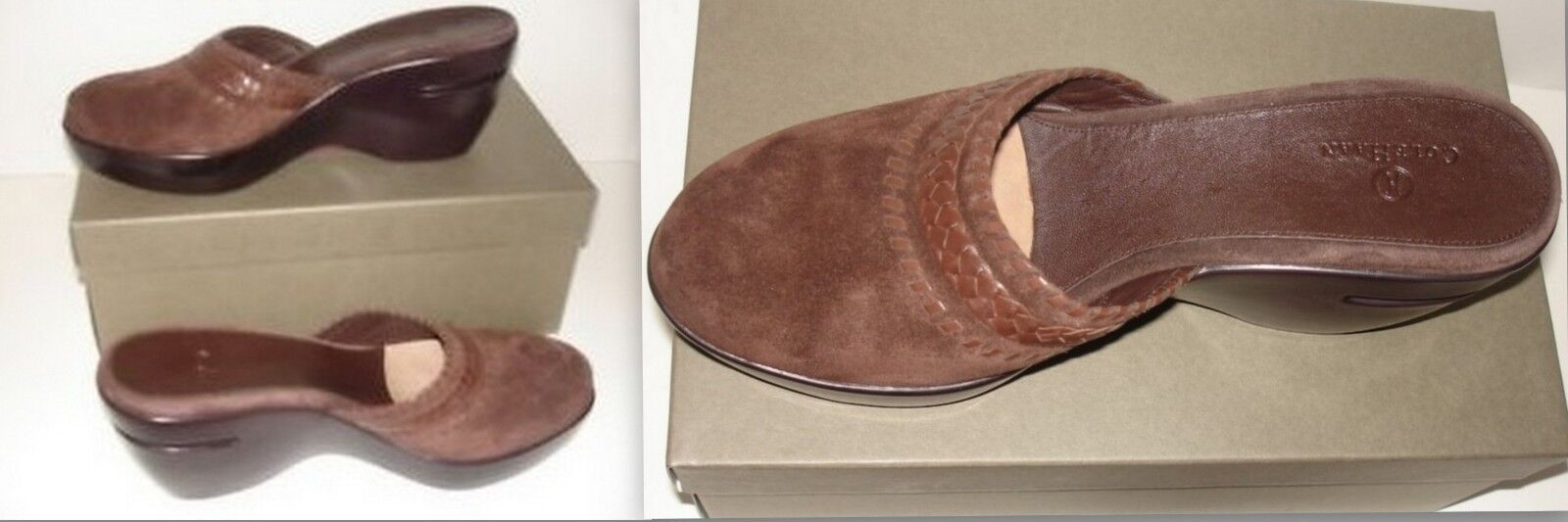 COLE HAAN AIR AUSTYN SUEDE BROWN CHOCOLATE CLOGS MULES WEDGES 9.5
