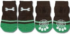 Non-Slip-Dog-Socks-Green-Bone-Small-Medium-amp-Large-3-5kg-to-20kg