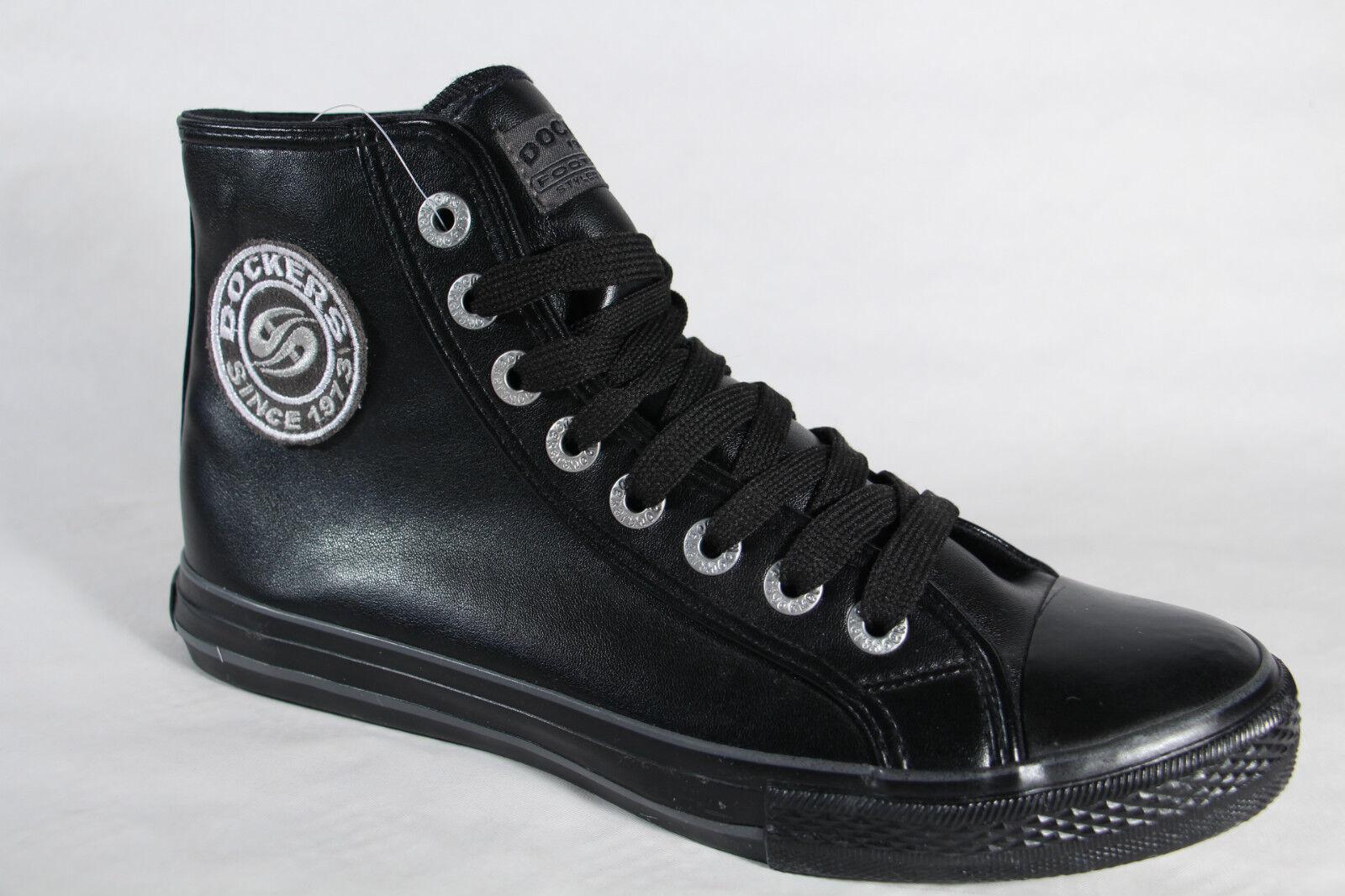 Dockers Stivali, Stivali, nera Scarpa bassa finta pelle nera Stivali, NUOVO ecfb17