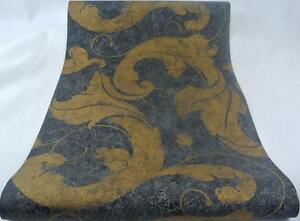 Tapete-Marburg-50606-16-Wand-Vliestapete-Muster-Anthrazit-Gold-NEU-043