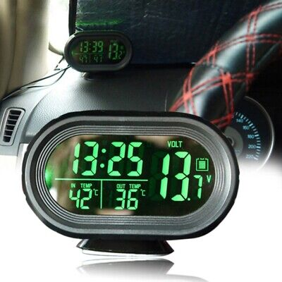 Car 12V Digital LED Electronic LCD Clock Indoor Outdoor Thermometer Voltmeter