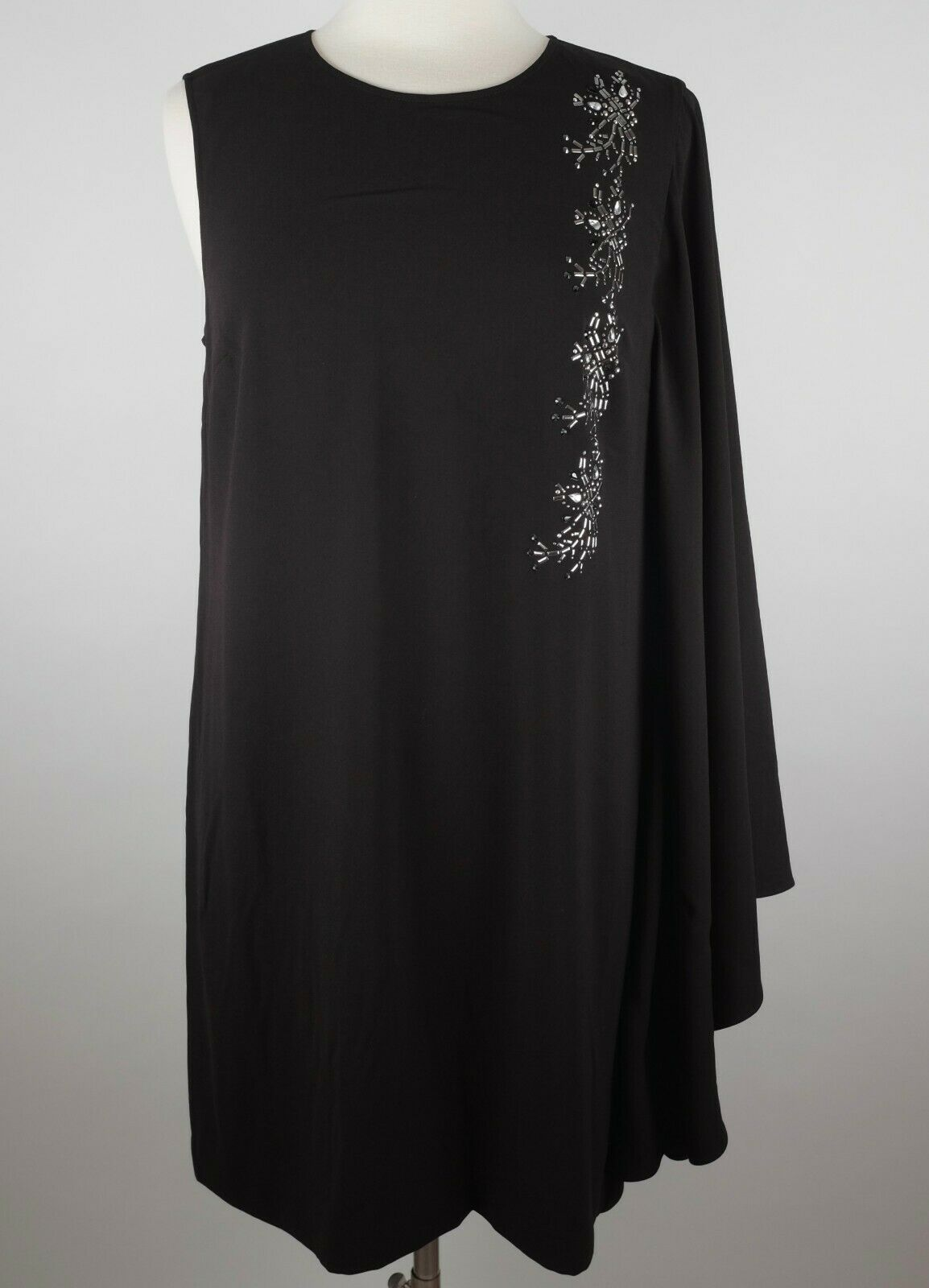 Nuevo St John Couture  Sz 10 vestido adornado Negro Drapeado cabo  1295  el mejor servicio post-venta