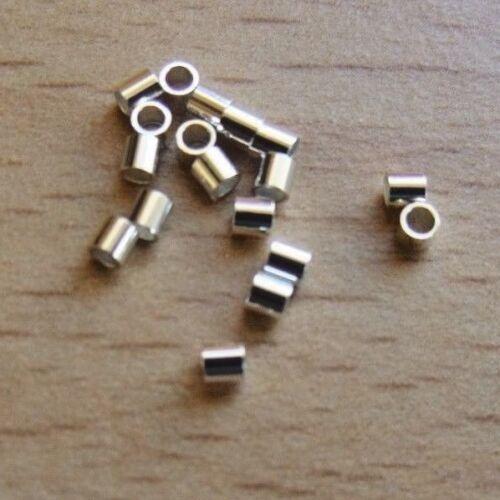 2mm x2mm 925 STERLING SILVER MINI CRIMPS TUBE SHAPE CRIMP QUALITY SILVER 6-3