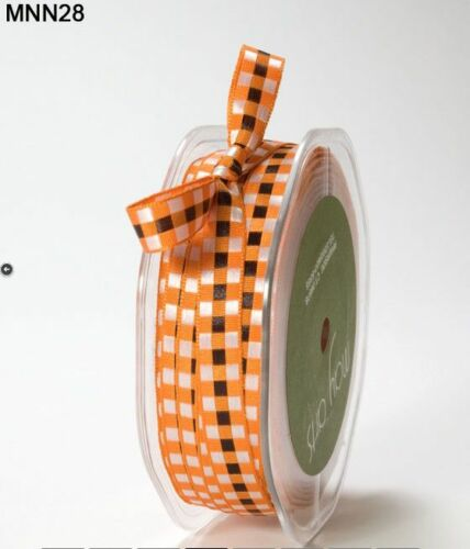 "3//8/"" SOLID//WOVEN CHECK Ribbon 5 Yards MNN28 May Arts Orange//Black//White"