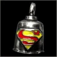 Pewter Motorcycle Gremlin Bell Superman S Super Man Logo Red Yellow Made In Usa