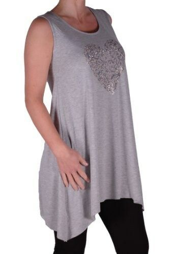 Womens Heart Studded Sleeveless Scoop Neck Thigh Length Casual Blouse Tunic Top