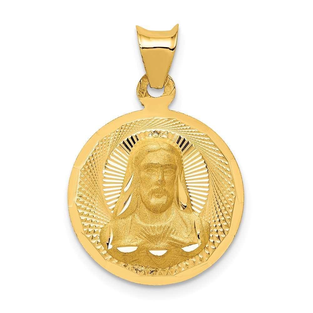14K Yellow gold Polished & Shiny-Cut Sagrado Corazon Circle Pendant K5595