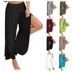 4347b6dd352 Details about Women s Wide Leg Loose Stretch Pants Elastic Waist for Yoga  Plus Size New