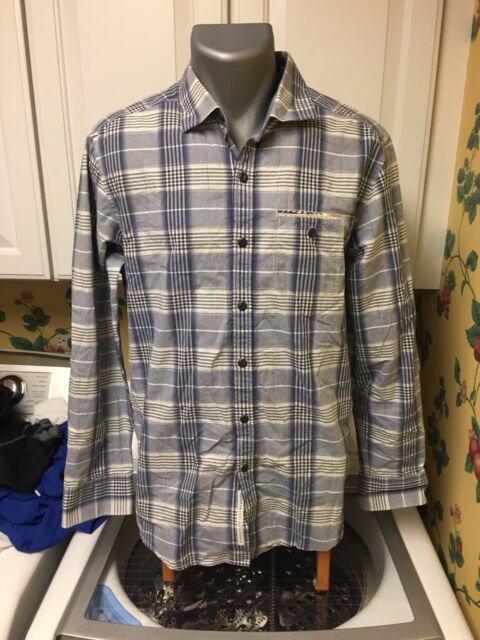 a15127954 Tommy Bahama Jeans Island Crafted Men's M Blue Plaid LS Button Down Shirt