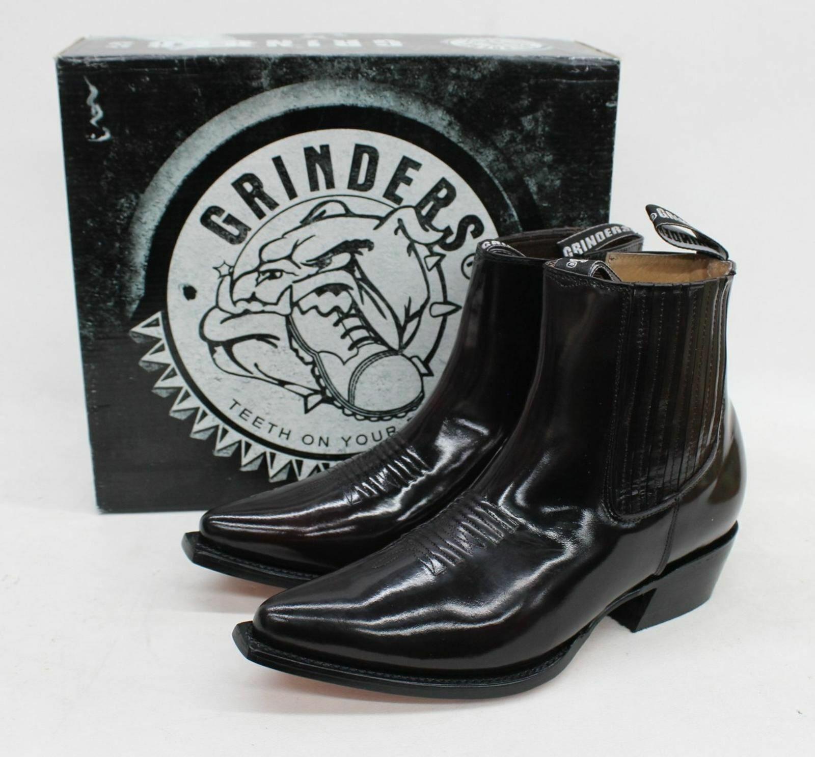 GRINDERS Men's Burgundy Austin Leather Cowboy Ankle Zip Boots UK10 EU44 BNIB