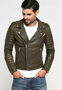 NOORA-Men-039-s-Leather-Jacket-Slim-Fit-Biker-Motorcycle-Style-Lambskin-Leather-SJ59