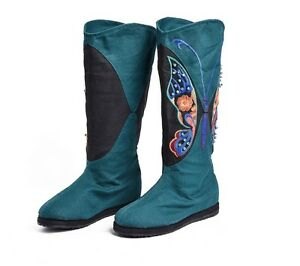 Canvas-fashion-boots-Embroidered-Butterfly