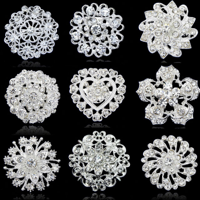 2017 Crystal Rhinestone Flower Wedding Bridal Bouquet Silver Flower Brooch Pin