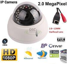 1080p IP Camera Vandal IR Dome POE Built-in, 2.8-12mm SONY EXMOR 2MP ONVIF NETIP