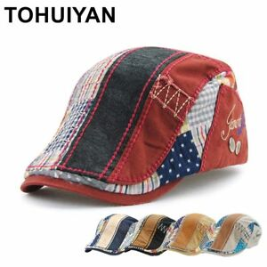 9cf40f5b00f4 Image is loading TOHUIYAN-Retro-Cotton-Patchwork-Beret-Hat-Men-Classic-