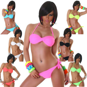 Bandeau Neckholder Bikini elegant Strand Bademode bunt Beachwear Swimwear Größe