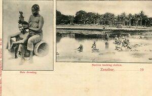 Carte-TANZANIE-ZANZIBAR-Hair-Dressing-et-Natives-washing-clothes