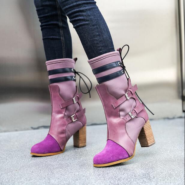 Hebilla de de de ante para mujer retro de costura de Color correa Punk Bloque Tacones Tirar botas  Ahorre 35% - 70% de descuento