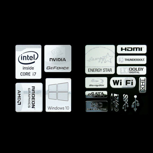 combo HH Haswell Intel Core i7 Logo Metal Decal Sticker Energy star Windows10