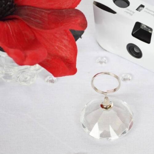 A Single Diamond Look 50mm Glass Balloon Weight Card or Menu Holder XDBW