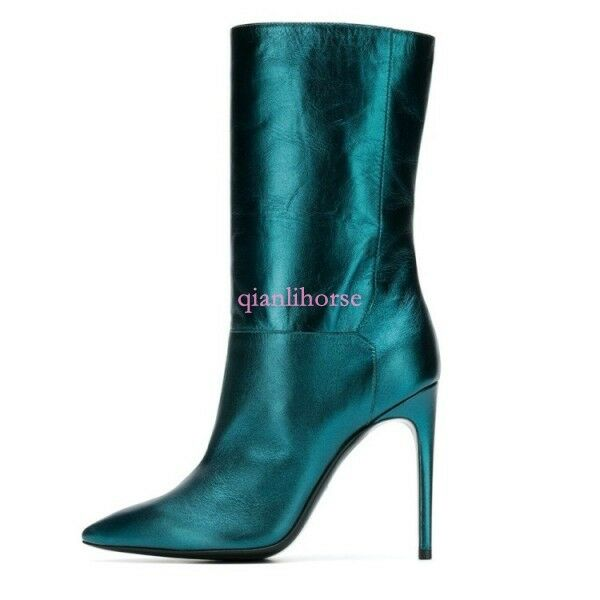 Women Occident Mid-Calf Boot Metallic Suede Lined Party Nightclub Stiletto shoes