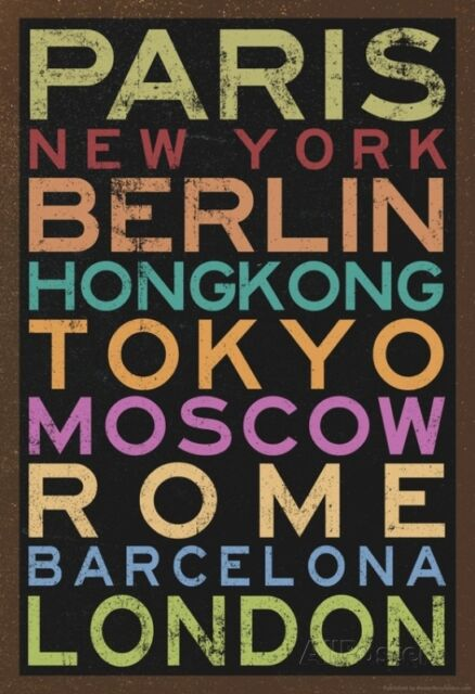 Cities of the World Colorful RetroMetro Travel Poster Poster Print, 13x19