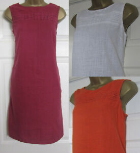 NEW-Next-Shift-Tunic-Dress-Linen-Blend-Sleeveless-Summer-Sun-Berry-Orange-6-18