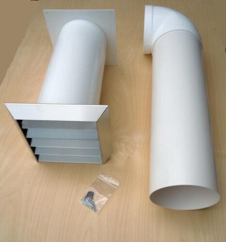 Abluftset Teleskop-Mauerkasten 150er Edelstahl mit 90° Bogen und 50cm Rohr Küche