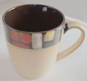 2-Mugs-M-by-Mikasa-Santa-Fe-Stoneware-Ceramic-Brown-amp-Beige-Coffee-Tea-Latte-Cup